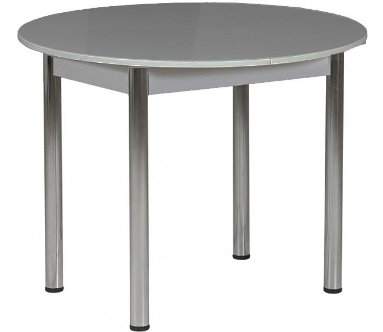 Раздвижной стол Круглый серый ноги хром