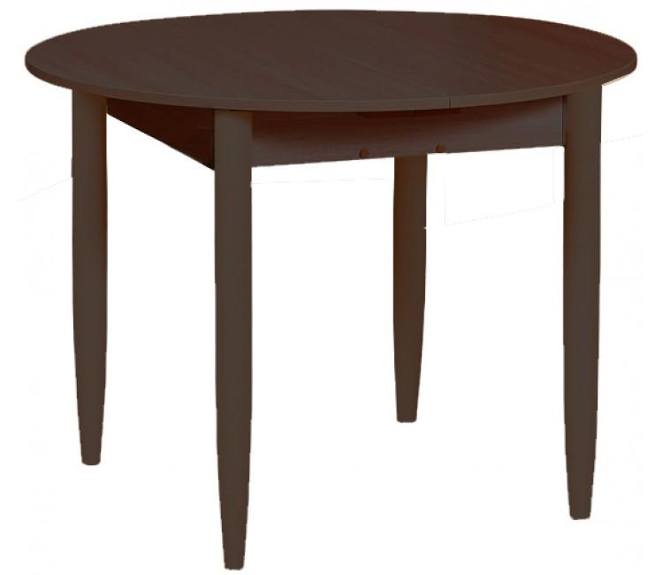 Кухонный обеденный раздвижной стол Круглый венге ноги конус
