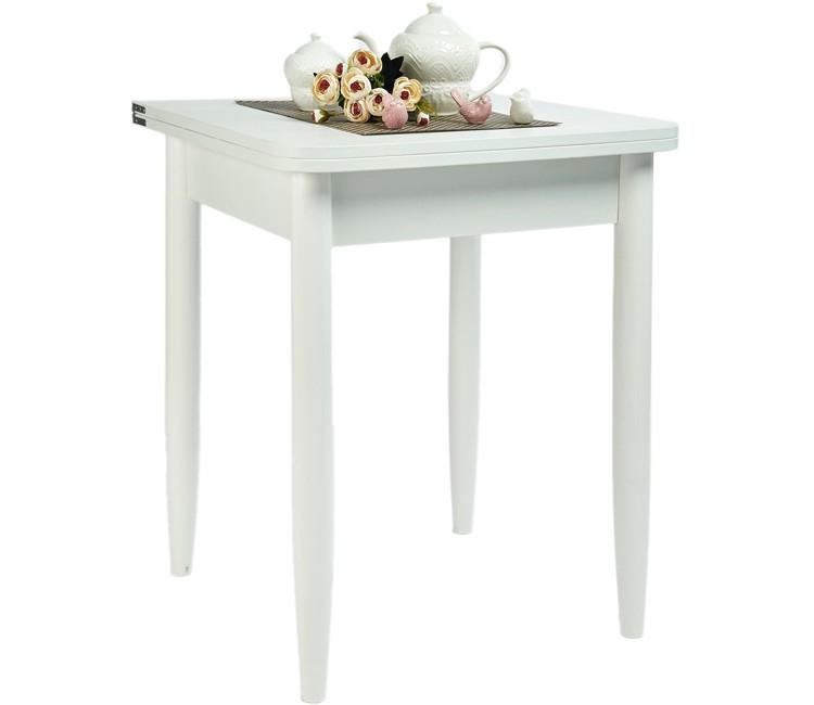 Кухонный обеденный раскладной стол Ломберный 60х60 белый текстурный ноги конус