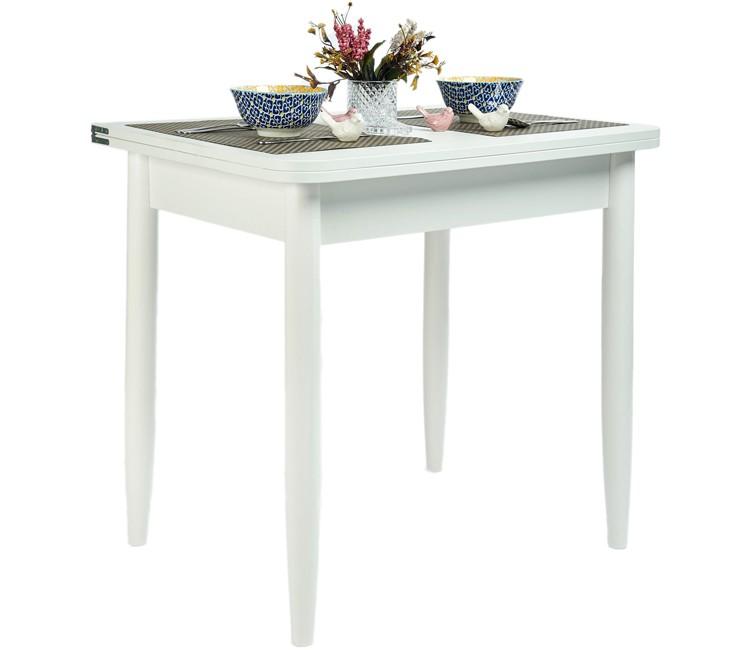 Кухонный обеденный раскладной стол Ломберный 80х60 белый текстурный ноги конус