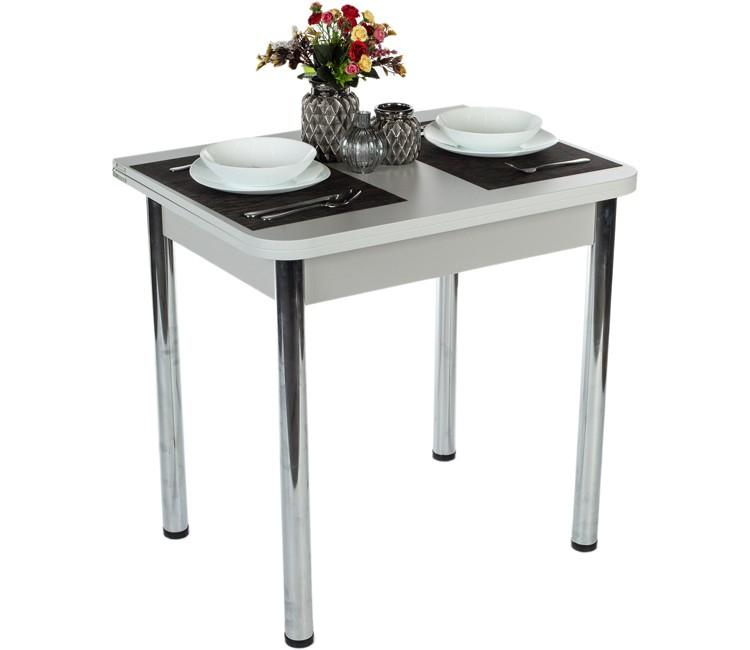 Стол Ломберный 80х60/120 белый ноги хром кухонный обеденный раскладной