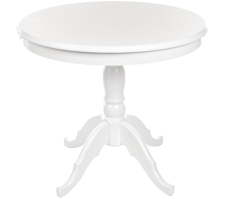 Стол круглый белый раздвижной массив 90(125) см на одной точеной ноге