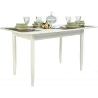 Стол прямоугольный 70х110/140 белый матовый текстурный ноги конус кухонный обеденный раздвижной