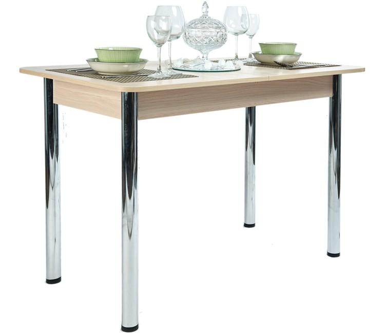 Стол Прямоугольный 70х110/140 шимо светлый ноги хром кухонный обеденный раздвижной