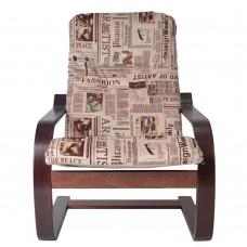 Кресло ГринТри Сайма вишня/ткань Газета