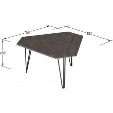 Журнальный столик ТЕТ 450 серый бетон