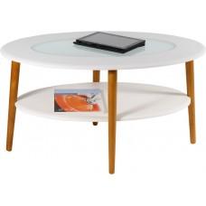 Журнальный столик Эль белый со стеклом