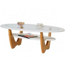 Журнальный столик Юпитер белый со стеклом