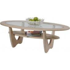 Журнальный столик Юпитер дуб беленый со стеклом
