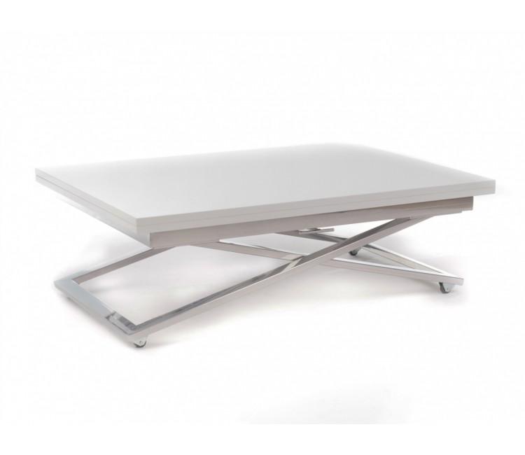 Стол трансформер журнально-обеденный Levmar Compact (Левмар Компакт) белый матовый