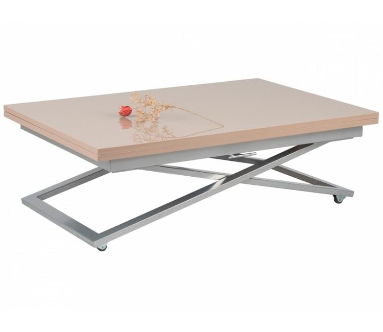 Стол трансформер журнально-обеденный Levmar Compact (Левмар Компакт) капучино глянец