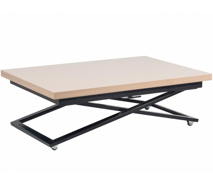 Стол трансформер журнально-обеденный Levmar Compact (Левмар Компакт) капучино глянец/черные опоры