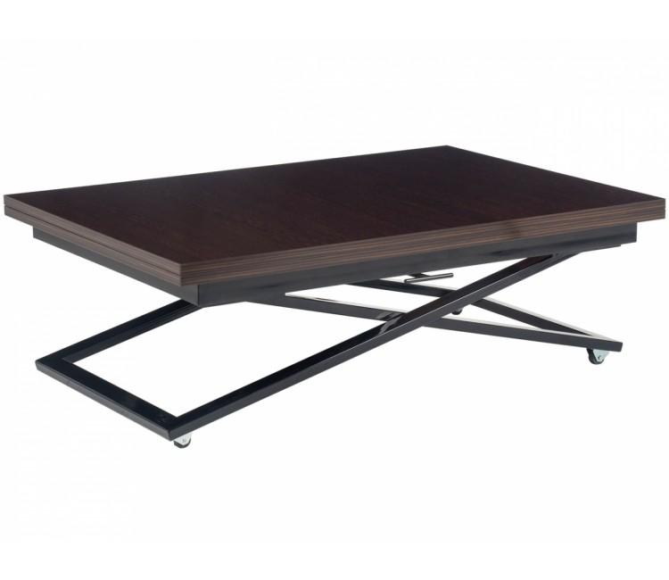Стол трансформер журнально-обеденный Levmar Compact (Левмар Компакт) венге глянец/черные опоры