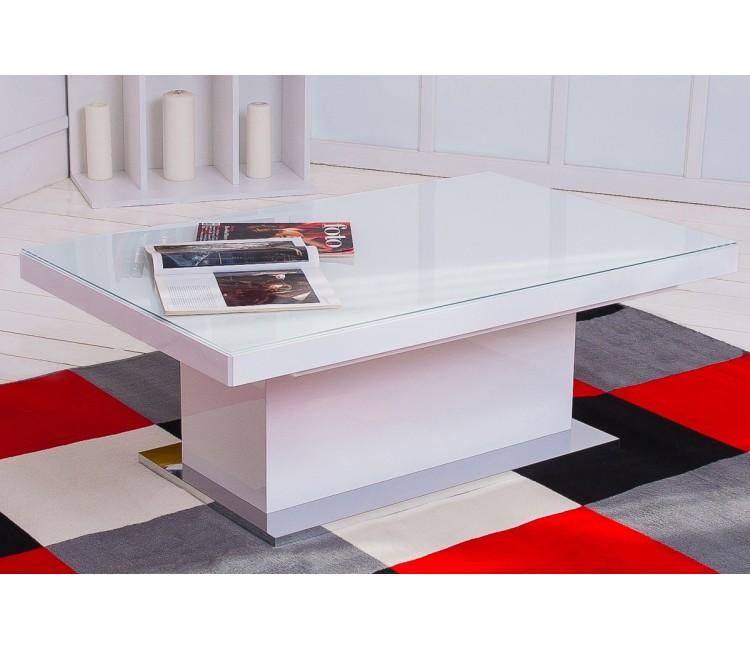Журнальный стол-трансформер Левмар Levmar Space Спэйс белое стекло глянец