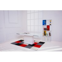 Стол-трансформер журнально-обеденный Levmar Space Спэйс белое стекло глянец