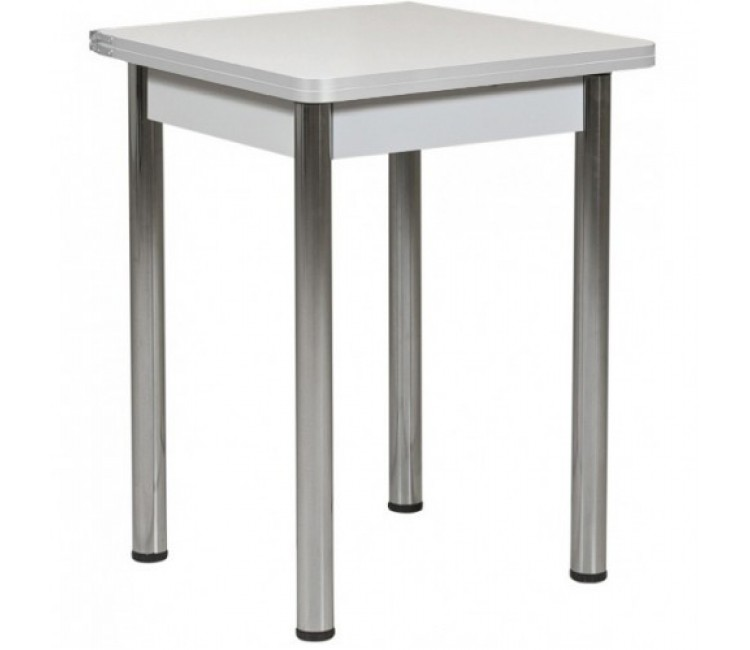 Ломберный стол 60х60/120 белый текстурный ноги хром