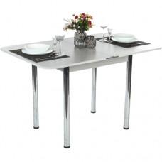 Стол Ломберный 60х60/120 белый текстурный ноги хром кухонный обеденный раскладной