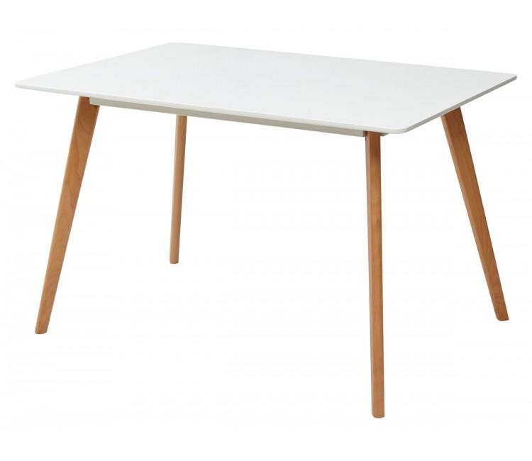 Стол обеденный нераскладной ABELE белый/массив бука 120x80 см