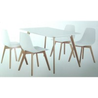 Стол обеденный нераздвижной ABELE белый/массив бука 120x80 см