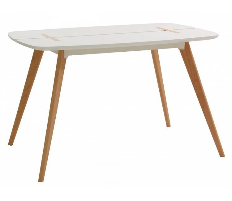 Стол обеденный нераздвижной СТОЛ OXALIS 120x80 см белый/массив бука