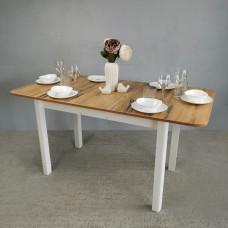 Стол Прямоугольный 70х110/140 дуб вотан ноги R квадро белые кухонный обеденный раздвижной