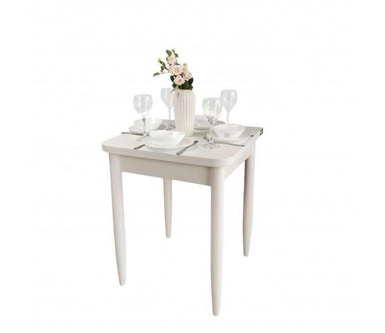 Стол Ломберный 60х60/120 лофт белый ноги конус белые кухонный обеденный раскладной