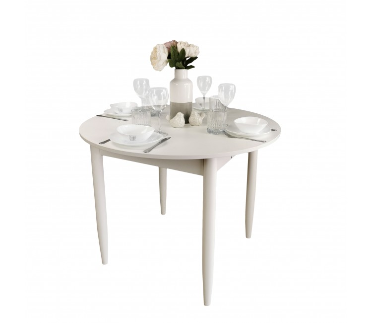 Стол круглый 94х94/124 см лофт белый ноги конус кухонный обеденный раздвижной