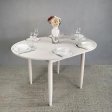 Стол круглый 94х94/124 см лофт белый ноги конус белые кухонный обеденный раздвижной