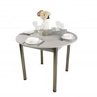 Стол круглый 94х94/124 см лофт серый ноги хром кухонный обеденный раздвижной