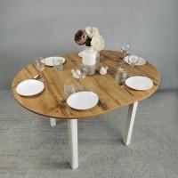 Стол круглый 94х94/124 см дуб вотан ноги R квадро белые кухонный обеденный раздвижной