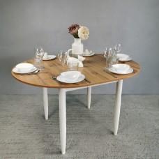 Стол круглый 94х94/124 см дуб вотан ноги конус белые кухонный обеденный раздвижной