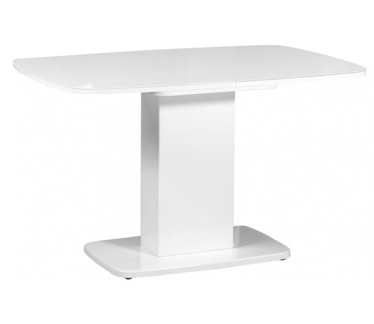 Стол обеденный овальный стеклянный раздвижной Виста Рио 80х120 (165) белый