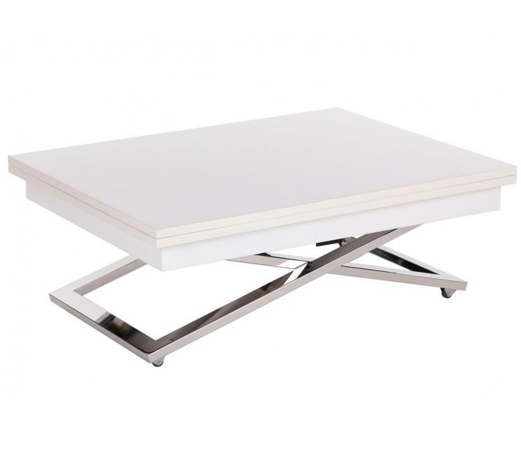 Стол трансформер журнально-обеденный Levmar Cross (Левмар Кросс) белый матовый