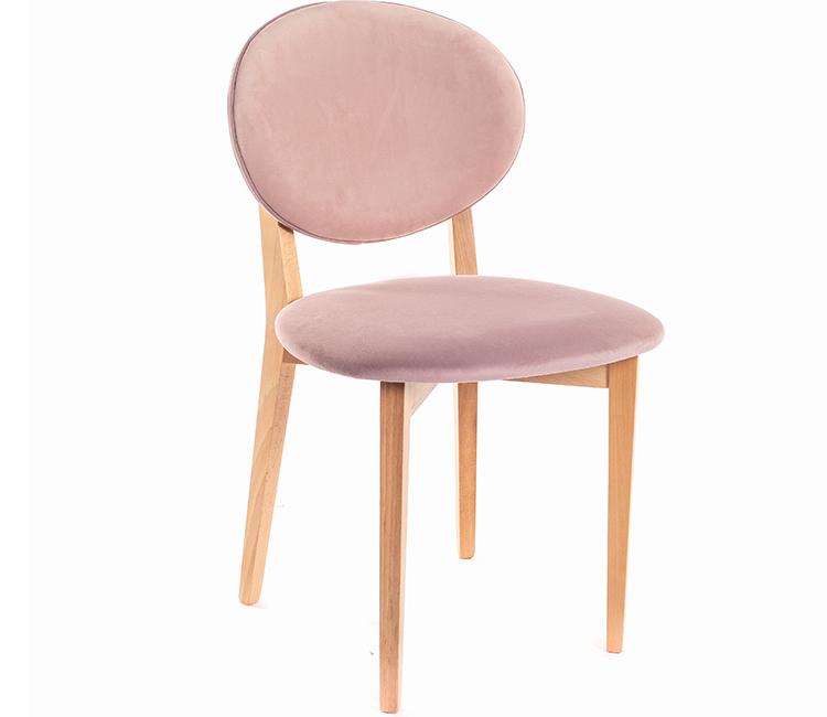 Стул кресло Виста Эми дерево натуральное/2 цвета розовый велюр