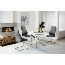 Стол Виста Онтарио d100/135 белое стекло/хром