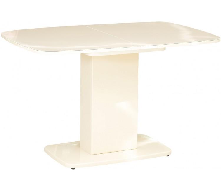 Стол обеденный овальный стеклянный раздвижной Виста Рио 80х120 (165) капучино