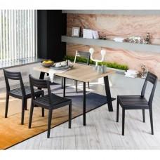 Стол обеденный раскладной Виста Саппоро 77x120(165) см дуб галифакс натуральный/чёрный металл